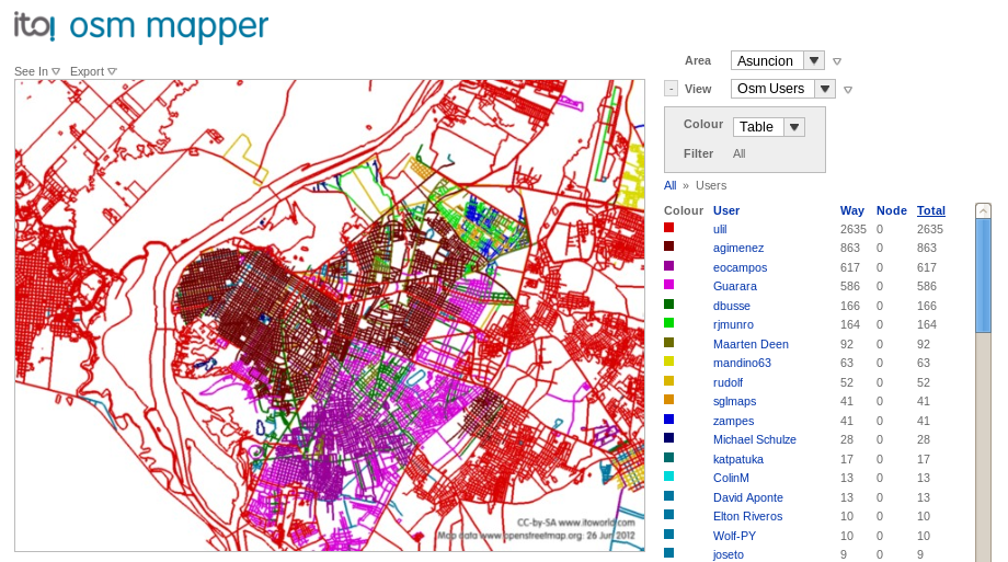 OSM Mapper ejemplo con Asunción
