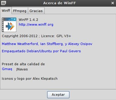 WinFF 1.4.2 en Debian Squeeze