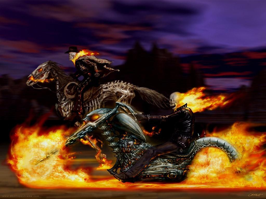 Caballo y moto en llamas