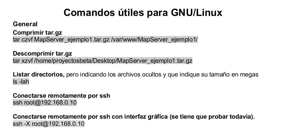 Manual de comando útiles para GNU/Linux