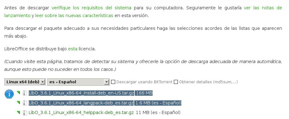 Descargar LibreOffice 3.6