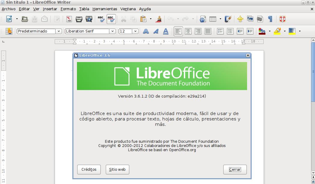 LibreOffice 3.6.1 en Ubuntu 12.04 LTS