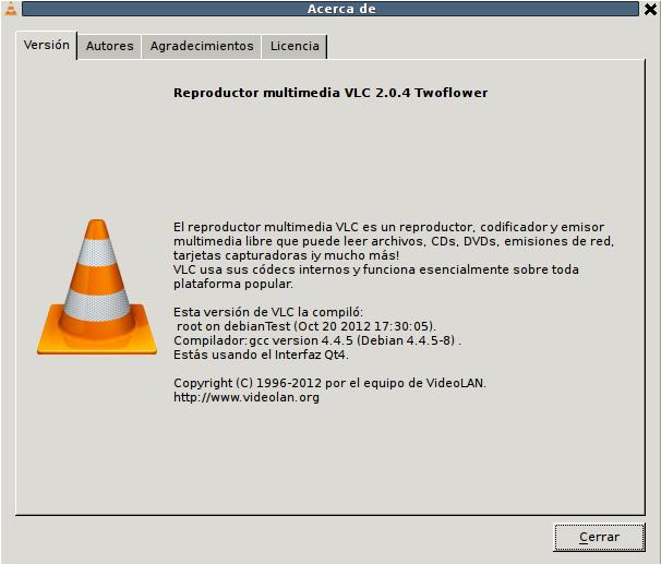 VLC 2.0.4 en Debian Squeeze