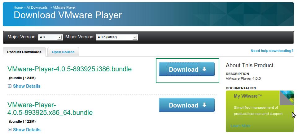 Descargar VMware Player 4.0.5