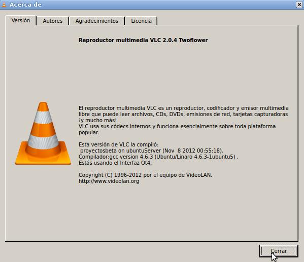 VLC 2.0.4 en Ubuntu 12.04 de 32 bits