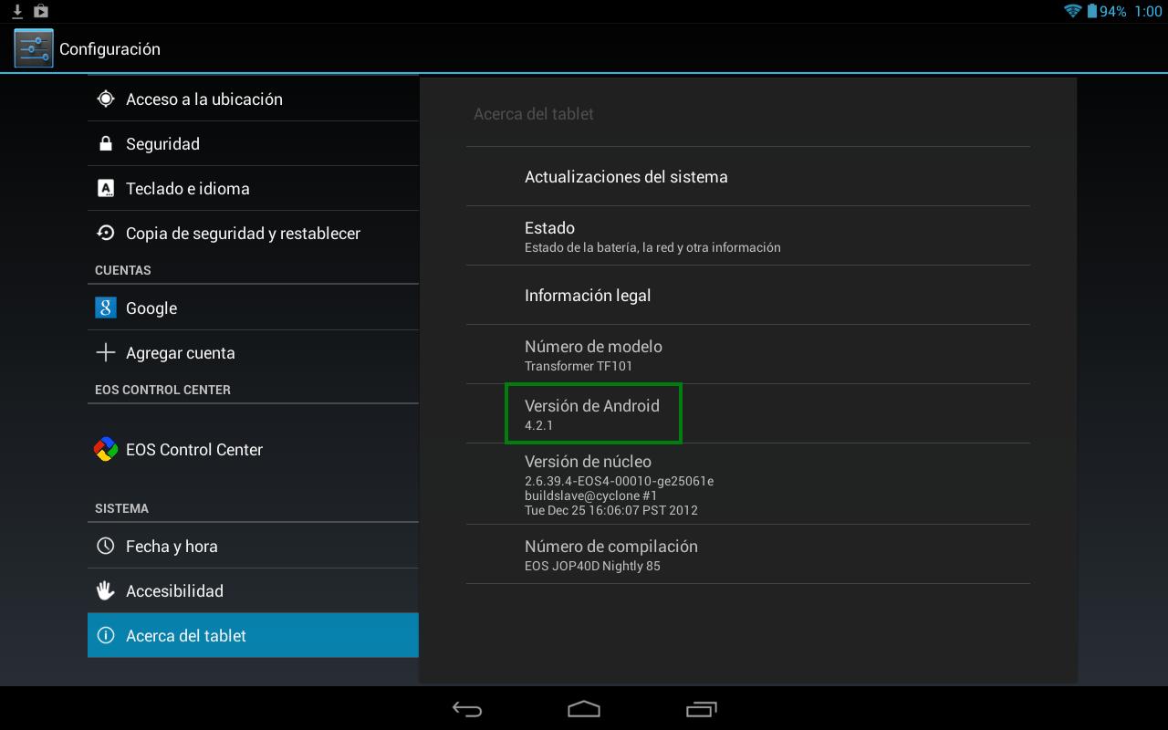 Android 4.2 en la Asus Transformer