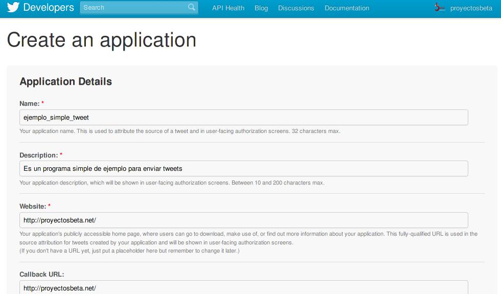 Crear una aplicacion para Twitter
