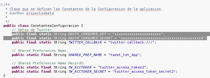 Datos de la aplicación Twitter