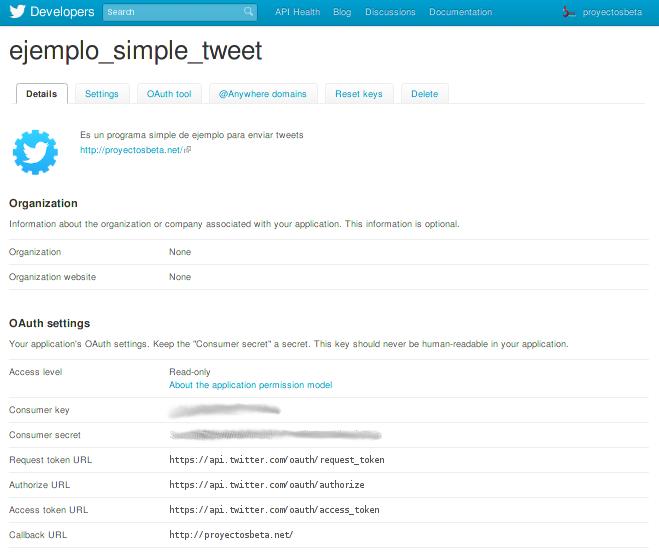 Datos de mi aplicación de Twitter