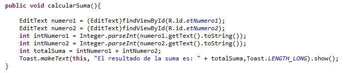Ejemplo de aplicación sencilla: Suma de dos números en Android