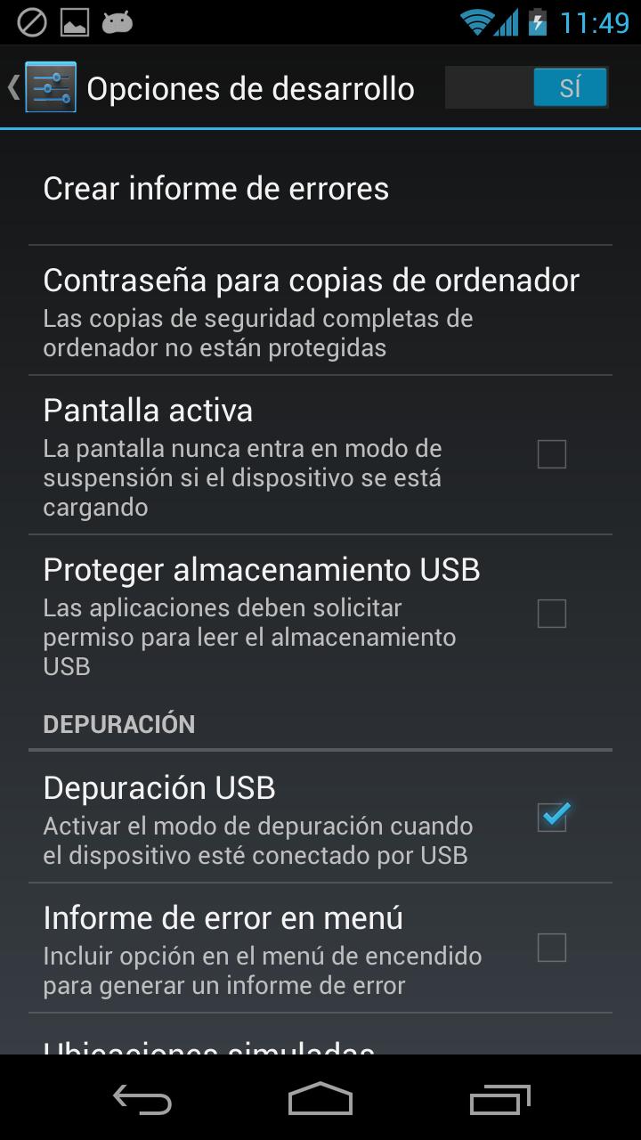 Activar las opciones de desarrollador en Android 4.2