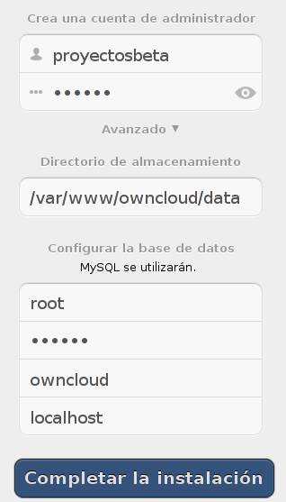 Configurar ownCloud