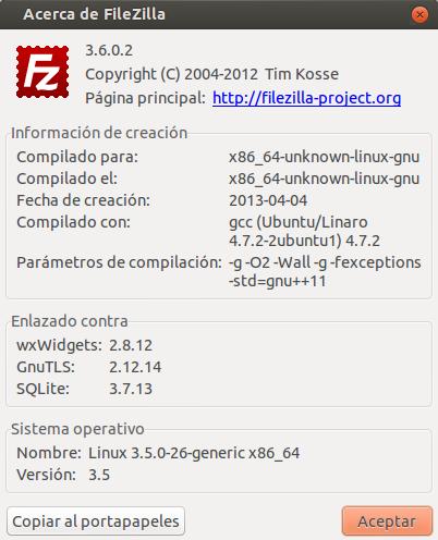FileZilla 3.6.0.2 en Ubuntu 12.10 de 64 bits