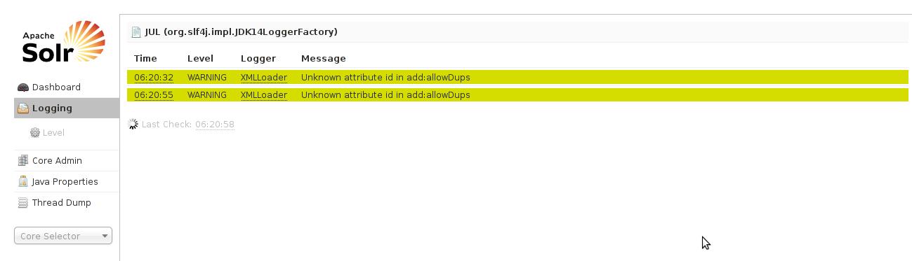 Mostrar errores Apache Solr
