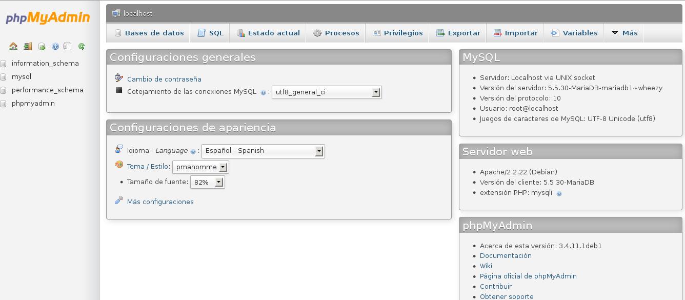 phpmyadmin usando MariaDB en Debian Wheezy