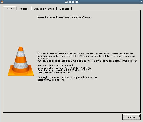 vlc 2.0.6 en Debian Wheezy