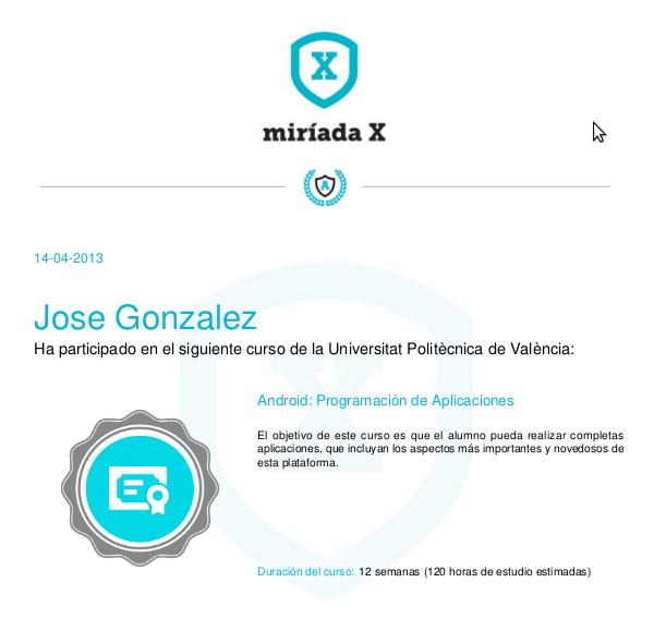 Certificado del Curso de Android - participado