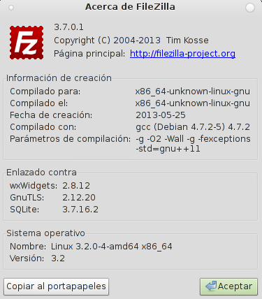 FileZilla 3.7.0.1 en Debian Wheezy