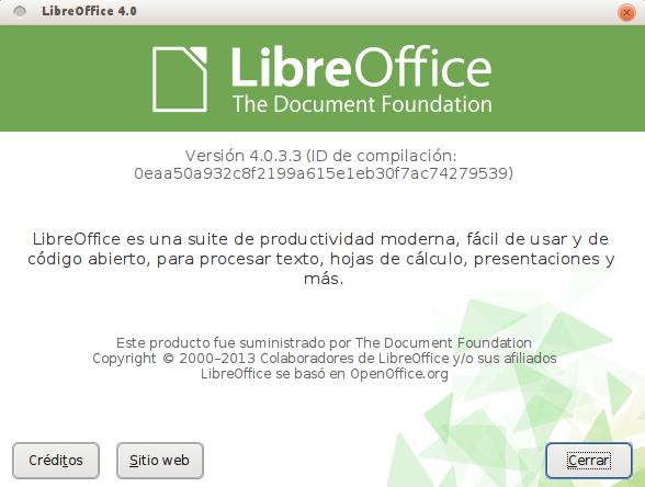 LibreOffice 4.0.3 en Ubuntu 13.04