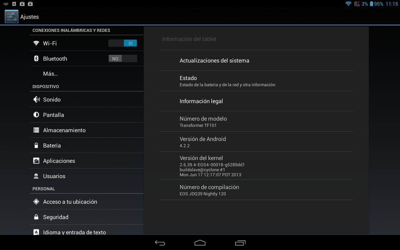 Android 4.2.2 en la Asus Transformer TF101 usando la ROM Team EOS 4