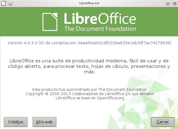 LibreOffice 4.0.3 de 32 bits en openSUSE 12.3