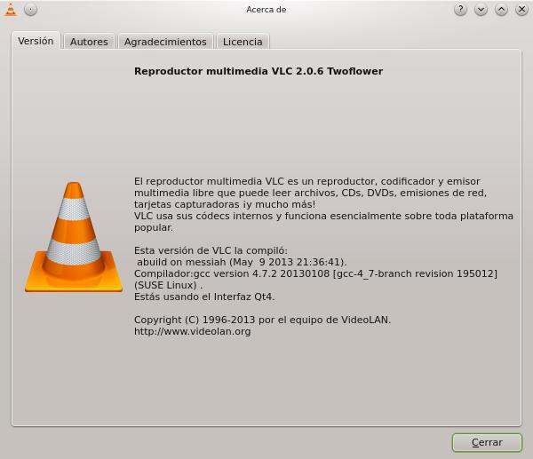 vlc 2.0.6 en openSUSE 12.3