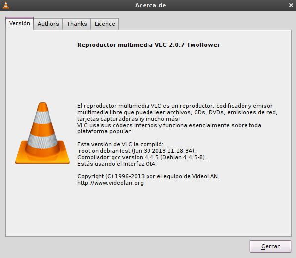 vlc 2.0.7 en Debian Squeeze