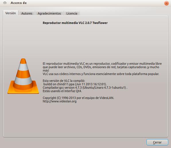 vlc 2.0.7 en Ubuntu 13.04