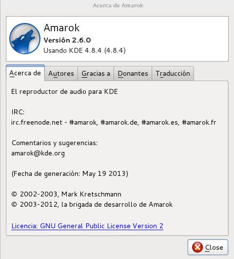 Amarok 2.6.0 en Debian Wheezy
