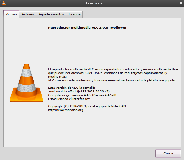vlc 2.0.8 en Debian Squeeze