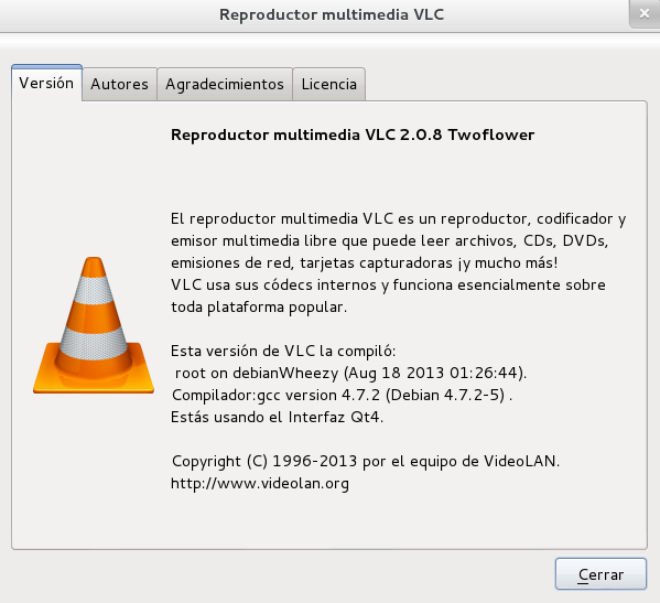 vlc 2.0.8 en Debian Wheezy