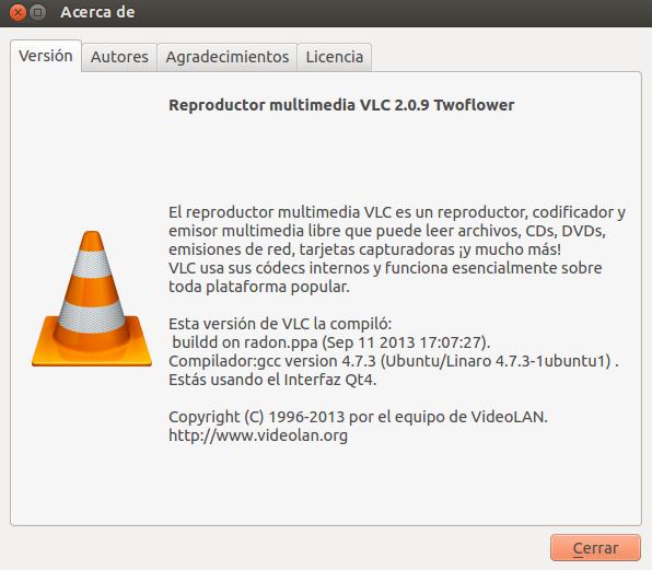 La última versión de vlc en Ubuntu 13.04