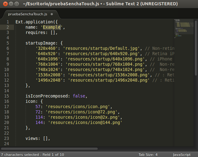 Sencha Touch con Sublime Text 2 en Ubuntu 13.04