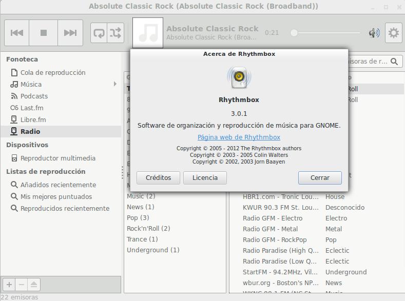 Rhythmbox 3.0.1 en Ubuntu 13.10