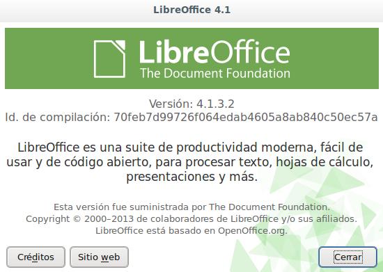 LibreOffice 4.1.3 en Ubuntu 13.10