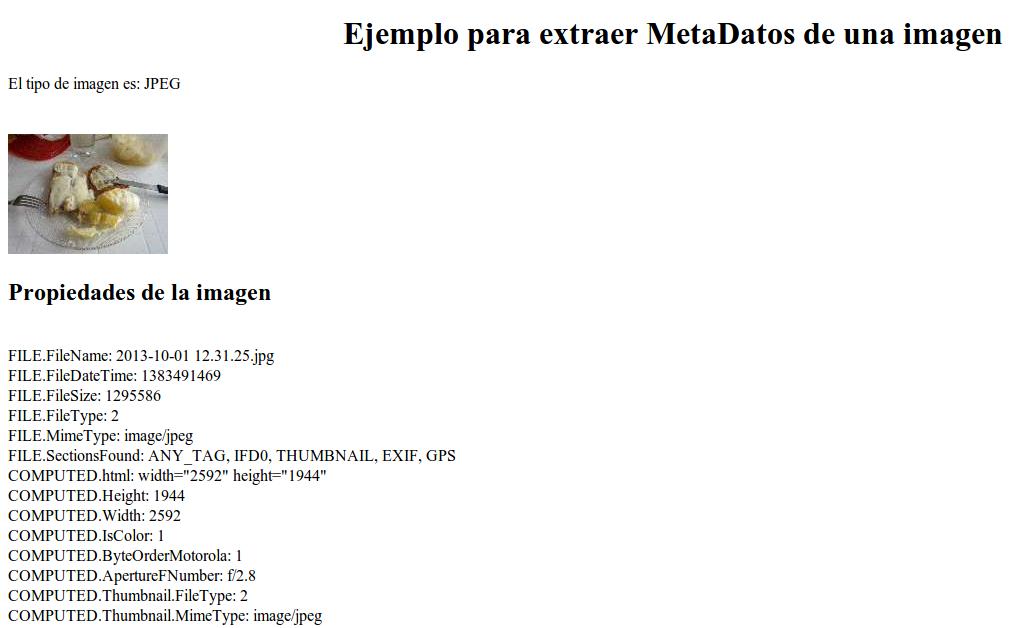 MetaDatos de una imagen usando PHP