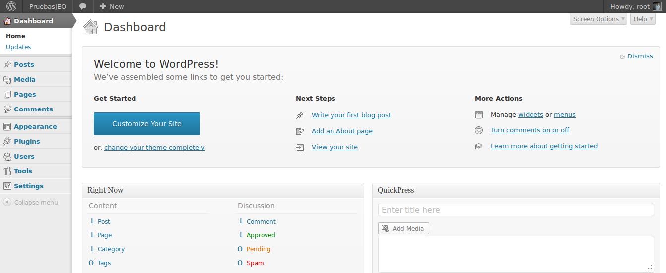 WordPress 3.7.1 en Ubuntu 13.10
