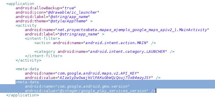 Agregar Google Service en el AndroidManifest.xml