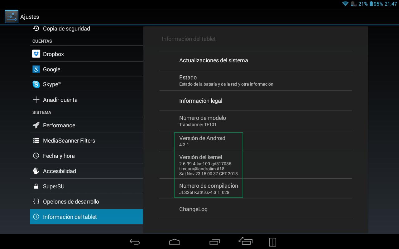 Android 4.3.1 build 28 en la Asus Transformer TF101