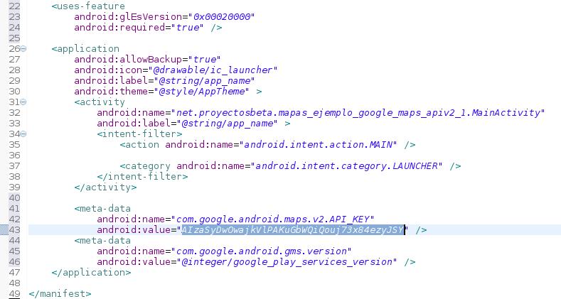 Archivo AndroidManifest.xml