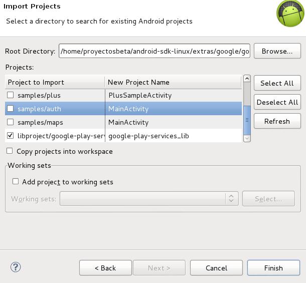 Importar librería Google Play services en Eclipse