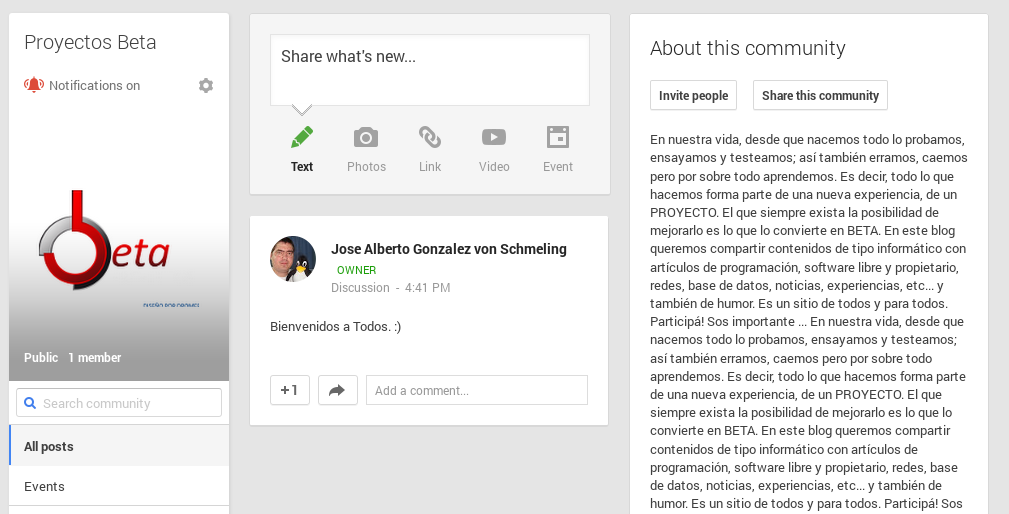 Proyectos Beta en Google+