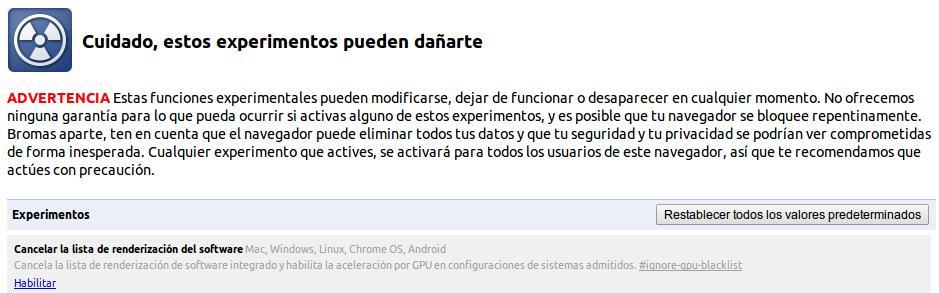 Habilitar WebGL de Google Chrome en Ubuntu 13.10