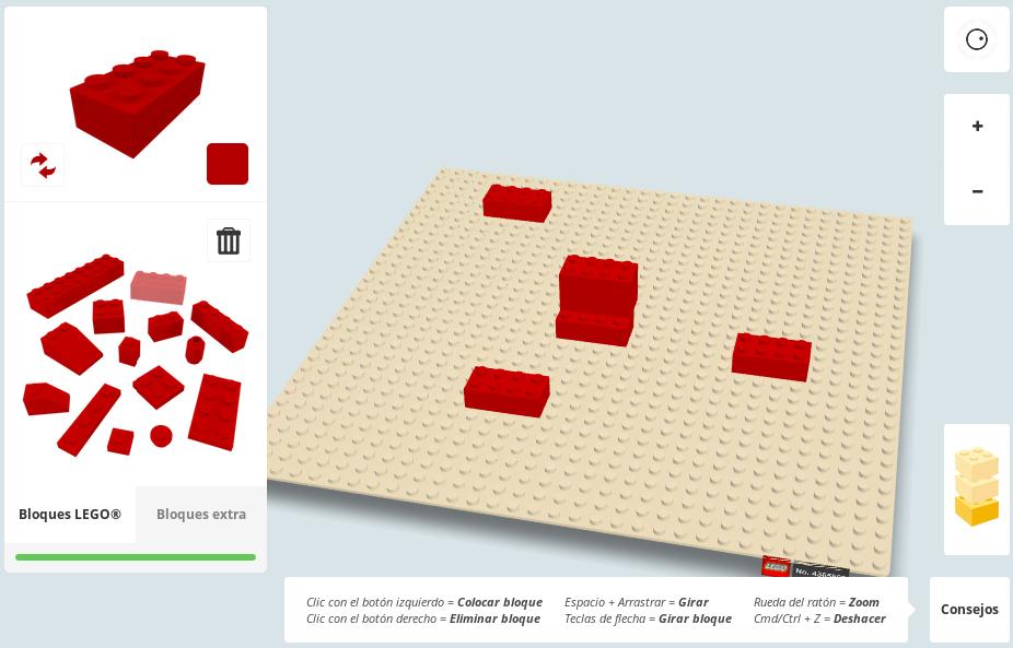 Probando una app de Lego en Google Chrome usando WebGL