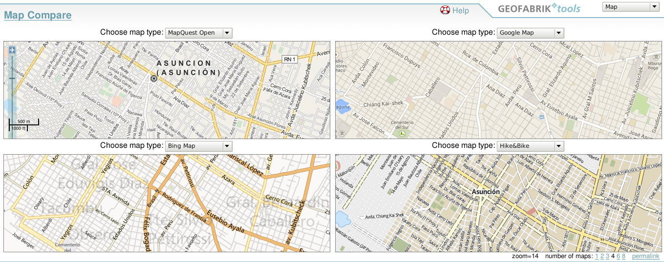 Comparar diferentes Mapas (OSM, Google Maps y Bing Maps)