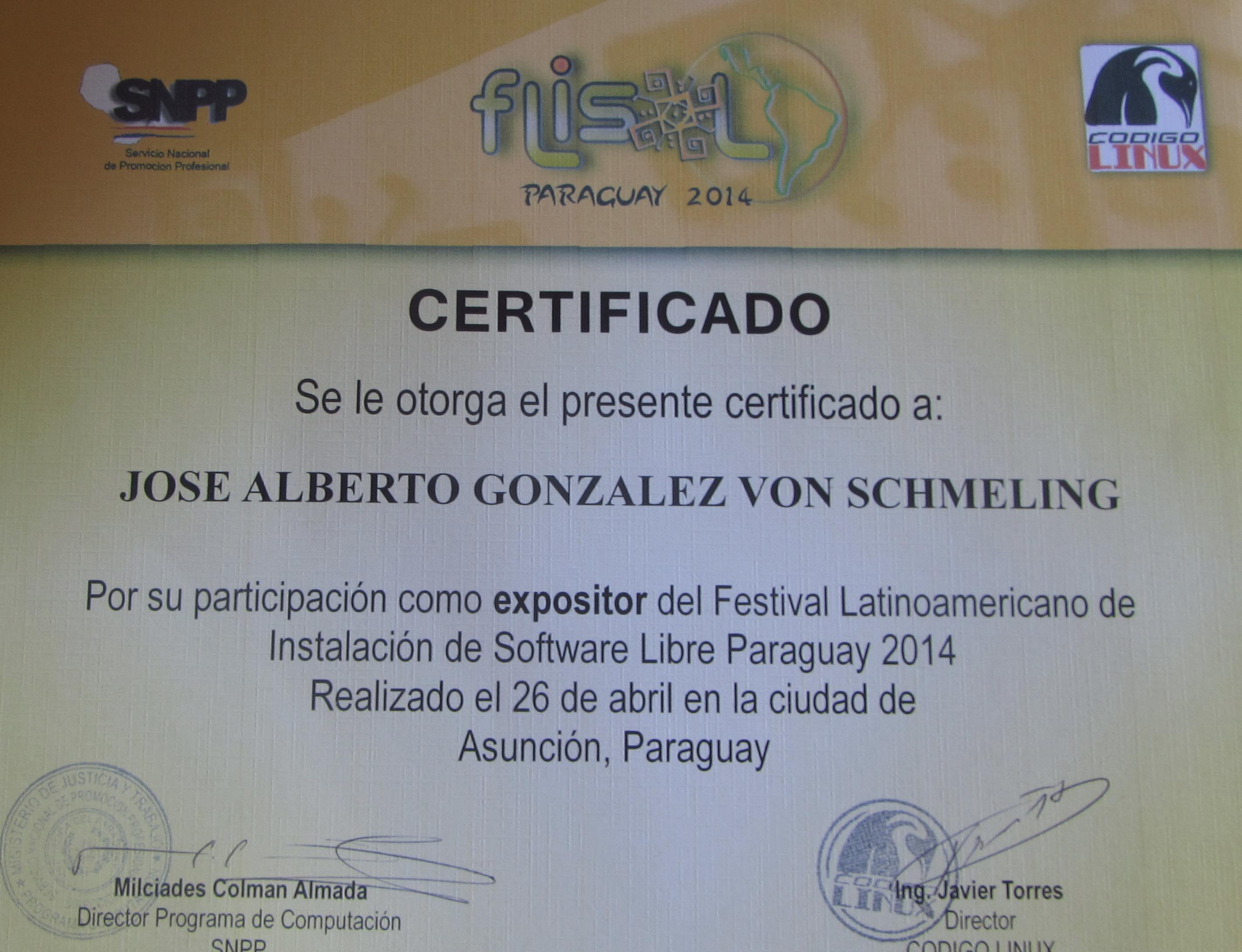 Certificado de expositor FLISOL 2014 Asu