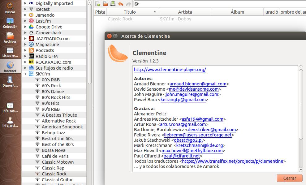 Clementine 1.2.3 en Ubuntu 14.04