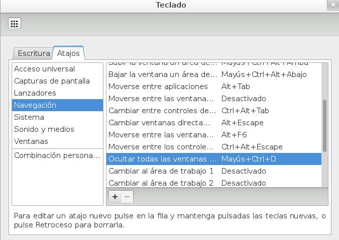 Configurar la opción de mostrar el escritorio en Gnome 3