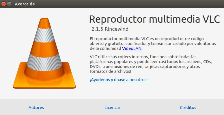 vlc 2.1.5 en Ubuntu 14.04 LTS