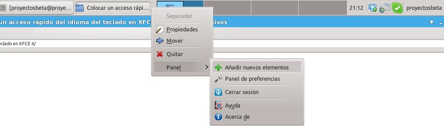 Añadir nuevo elemento en el panel de XFCE 4